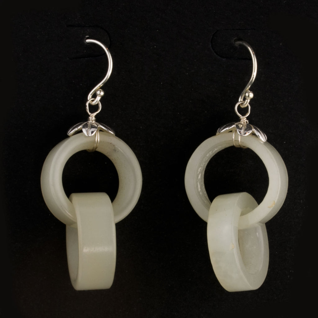 Earrings made of antique Chinese carved nephrite Devils Work  interlocking rings with sterling silver wire. erja894