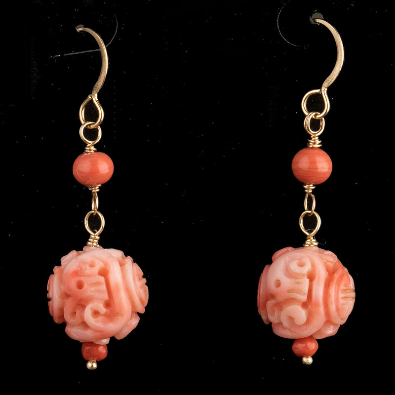 Vintage rare hand-carved Chinese pink angelskin coral bead earrings. 14k gold wire. erja895