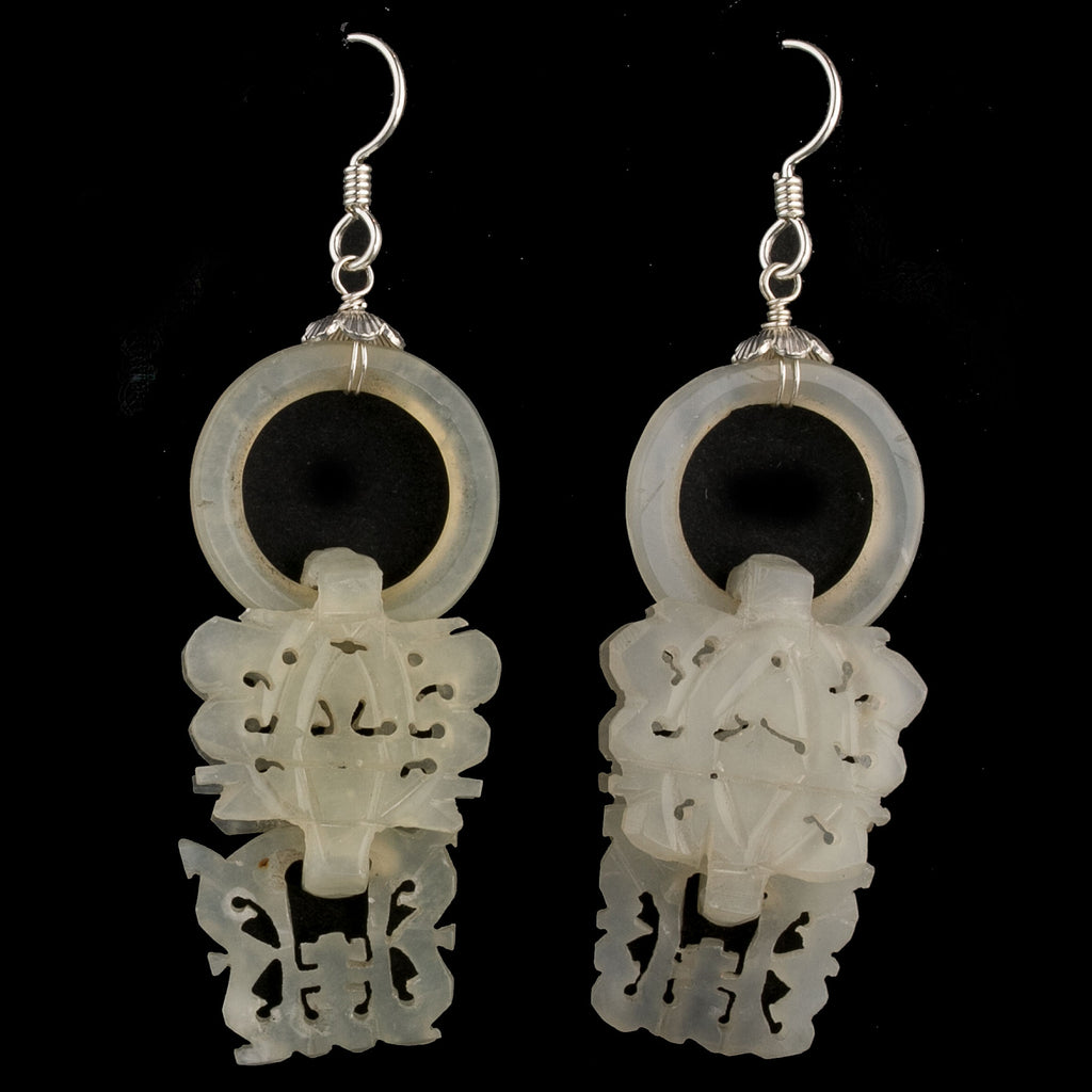 Antique Chinese nephrite jade wedding basket Devil's Work earrings. erja898