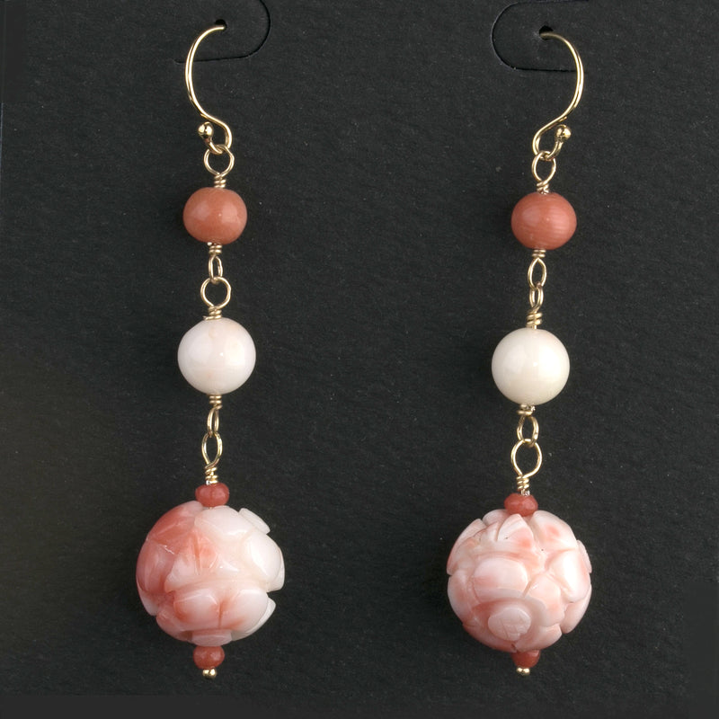 Vintage rare hand-carved Chinese variegated, pink and white angelskin coral bead earrings. 14k gold filled ear wire. erja900