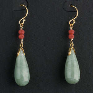 Vintage natural green jadeite drop and antique natural red coral bead earrings on goldwash sterling vermeil earwires. erja903