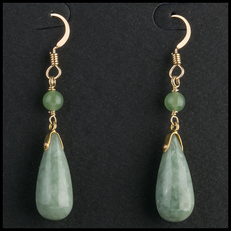 Vintage natural green jadeite drop  earrings on goldwash sterling vermeil earwires. erja904