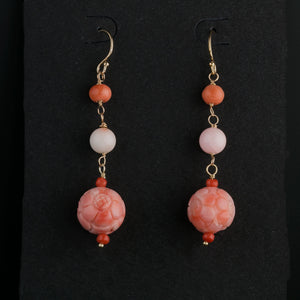 Vintage carved  pink and white natural angelskin bead earrings. erja905