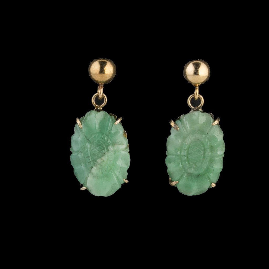 Vintage natural green Jadeite oval stones set in sterling vermeil. Chinese export 1970s. erja907