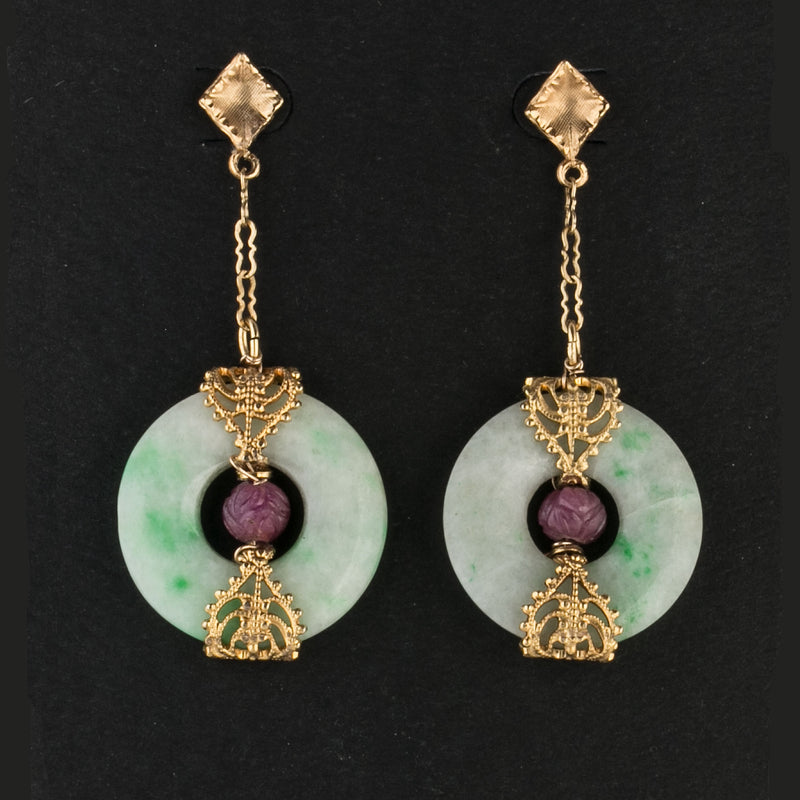 Art Deco style green Jadeite and carved Mysore Ruby earrings.  erja909
