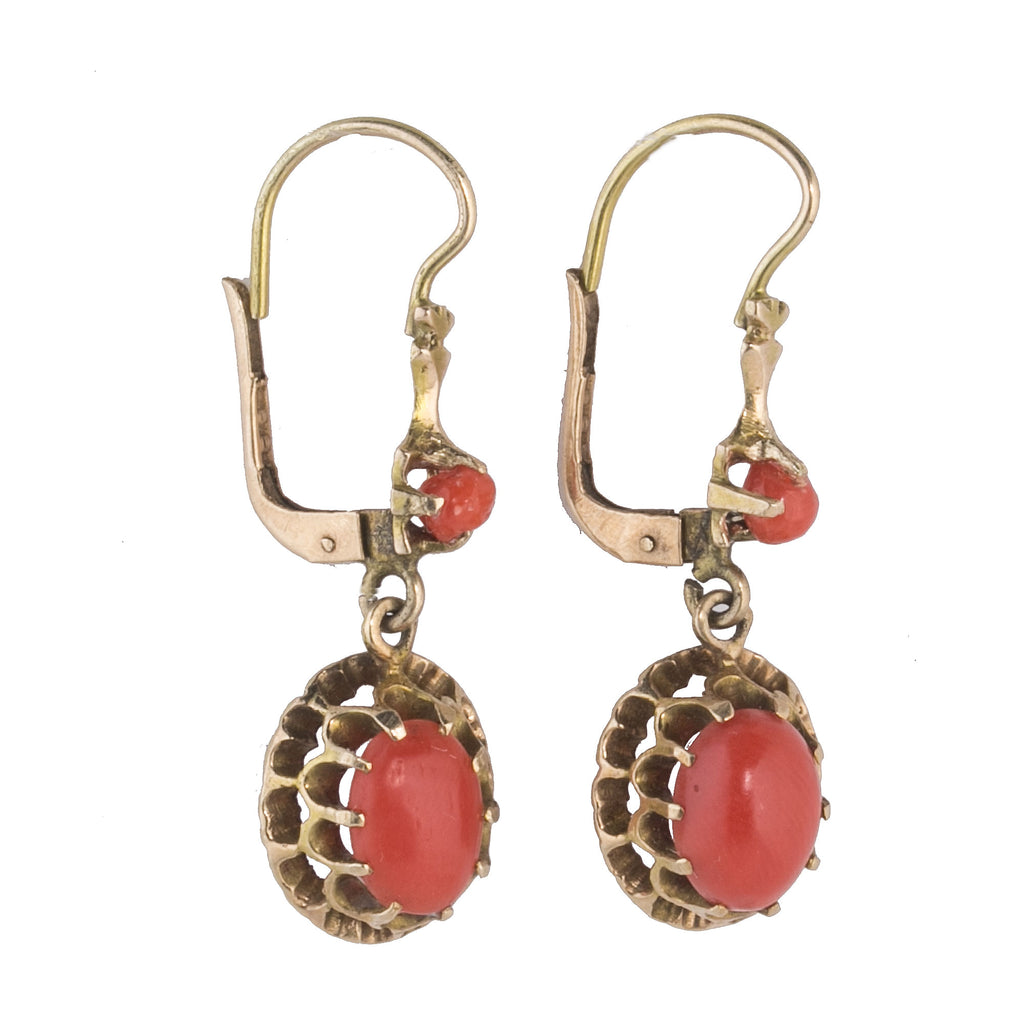 Antique Victorian 12k yellow gold natural Mediterranean coral drop earrings. erja912