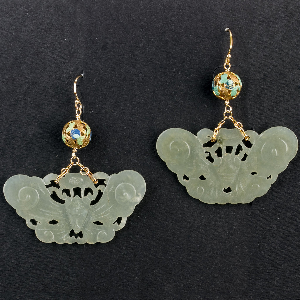 Vintage Nephrite Jade moth earrings with vintage Chinese enameled vermeil filigree beads. erja913