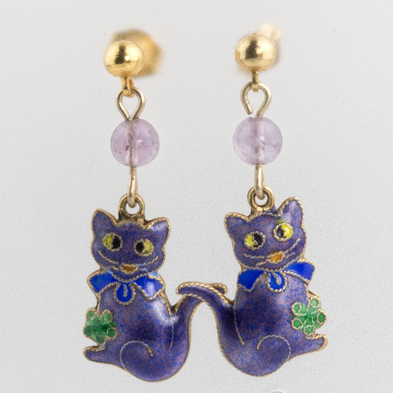 Vintage fanciful feline enamel over silver earrings with amethyst bead. eror467