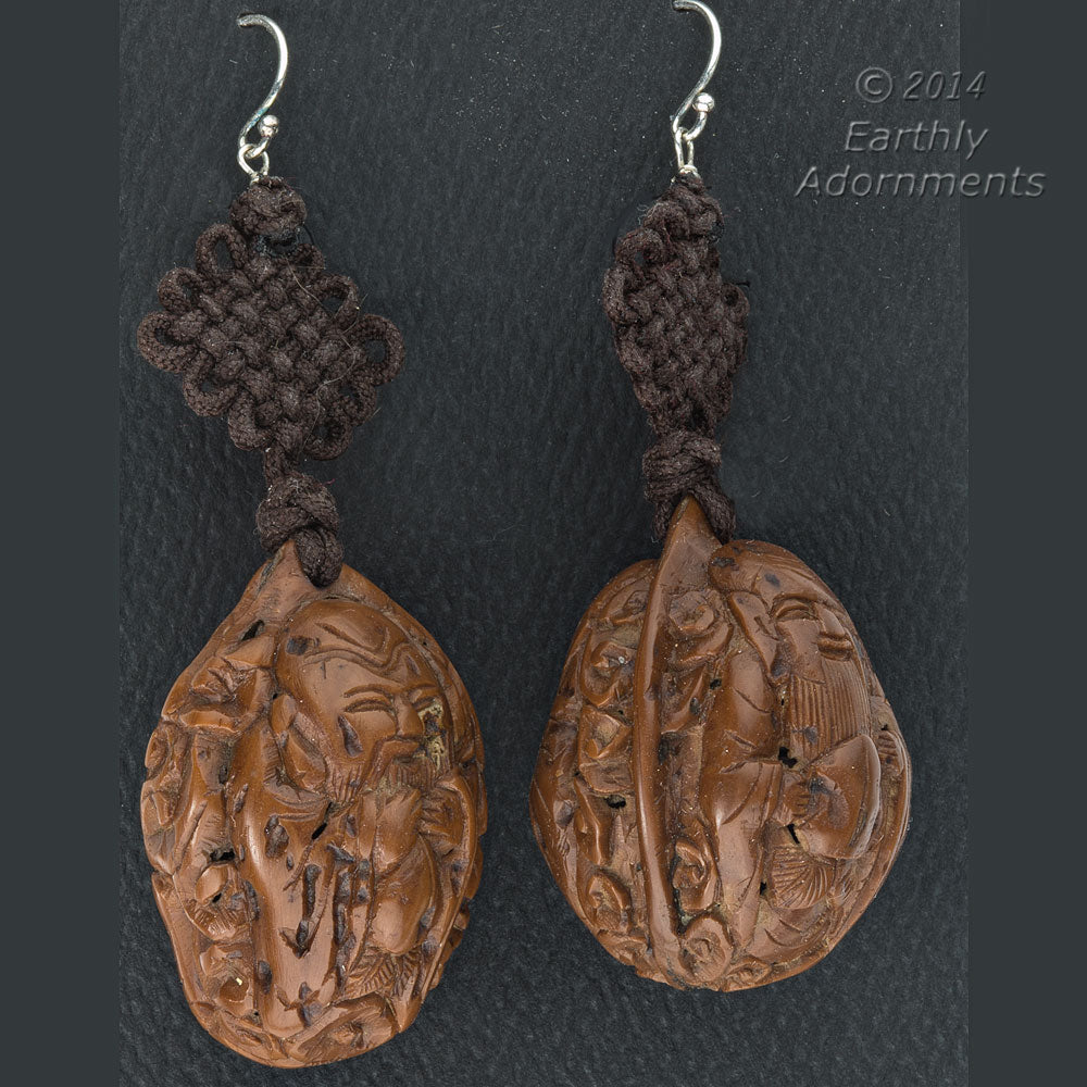 eror468(e)- Vintage earrings of old Chinese carved walnuts hanging from a Chinese Feng knot.
