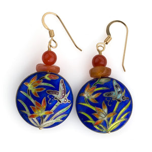 eror470(e)-Earrings of vintage translucent carnelian agate and Chinese cloisonné enamel disks