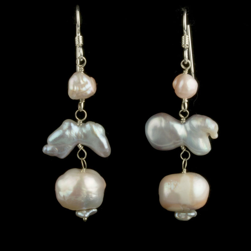 Earrings of vintage Japanese Lake Biwa freeform baroque pearls and sterling silver. eror471e