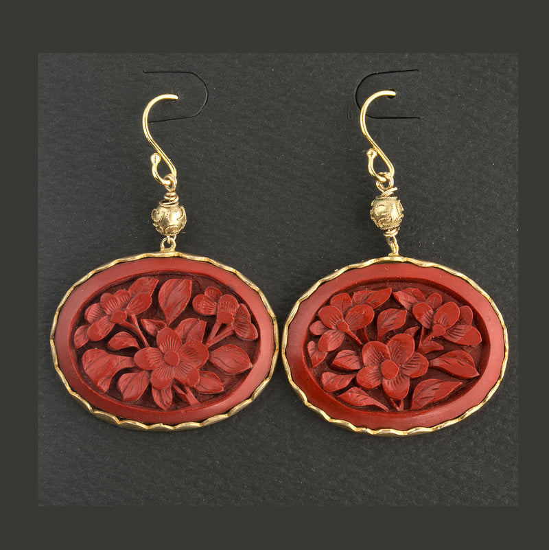 Vintage Chinese carved cinnabar silver vermeil earrings.  eror483