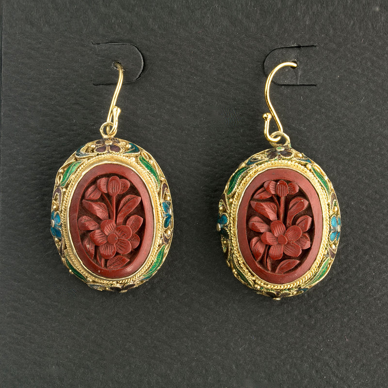 Vintage Chinese carved cinnabar earrings in silver vermeil enamel flower settings.  eror484