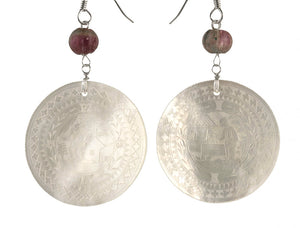 Antique Chinese mother of pearl gaming counter earrings with watermelon tourmaline and sterling silver. eror476