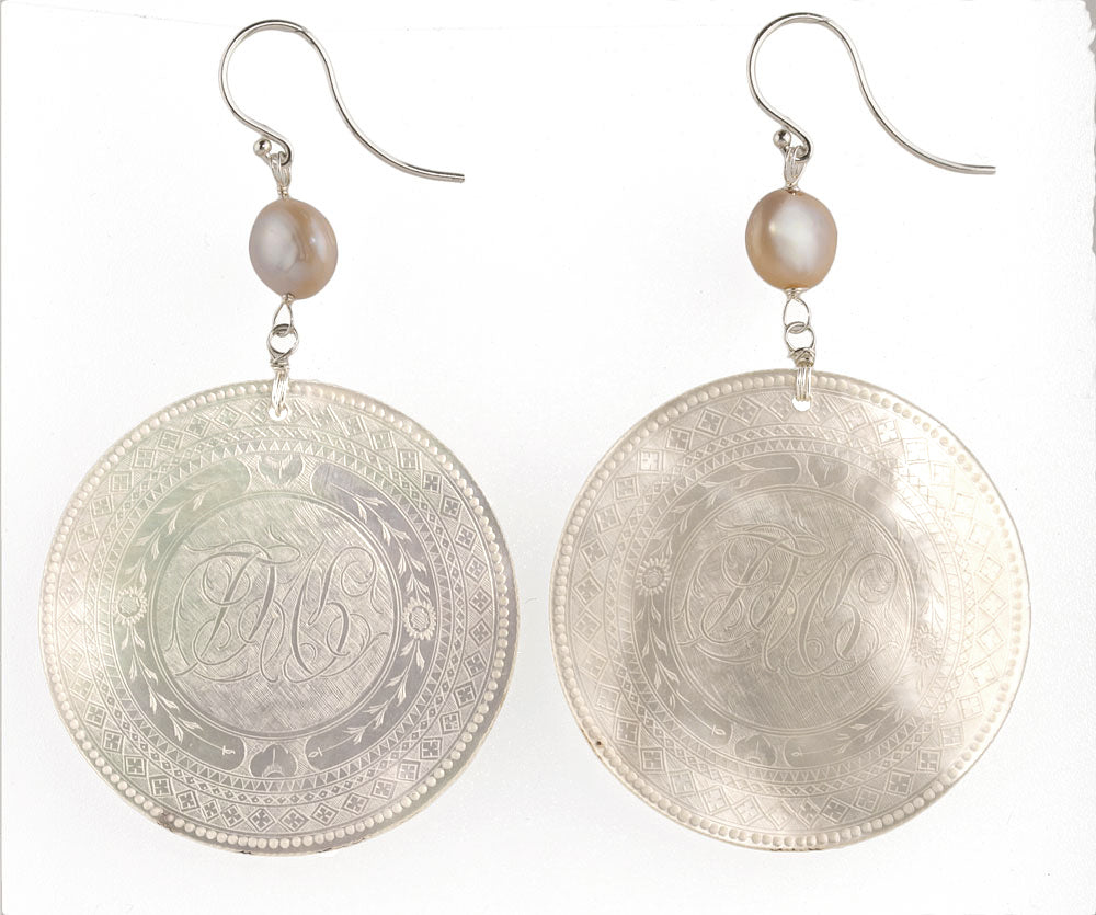 Antique Chinese mother of pearl gaming counter earrings with Japanese Lake Biwa pearl and sterling silver. eror477(e)