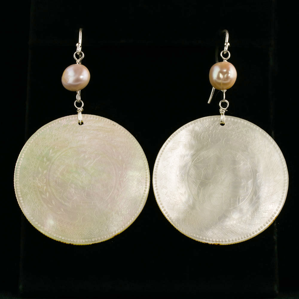 Antique Chinese mother of pearl gaming counter earrings with Japanese Lake Biwa pearl and sterling silver. eror477