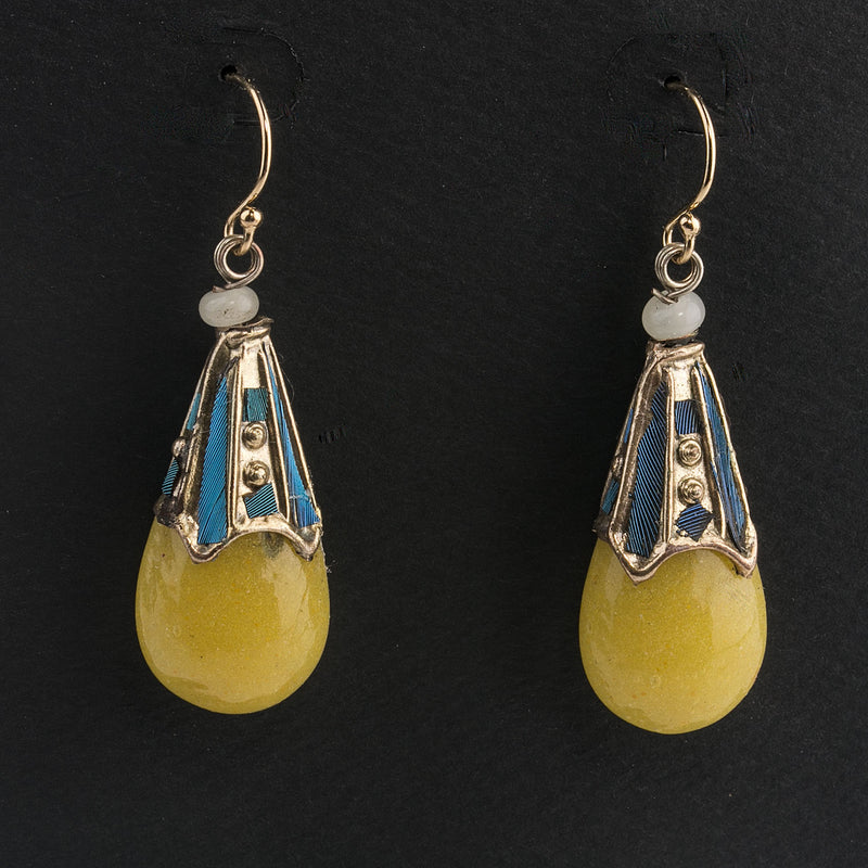 Earrings made of antique 19th century Peking glass Kingfisher feather Mandarin court counterweight beads. eror482e