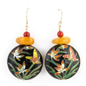 Earrings of vintage amber, coral and Chinese cloisonné enamel disks.  eror486
