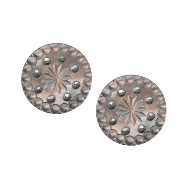 Antique Victorian button earrings-Ervn909(e)