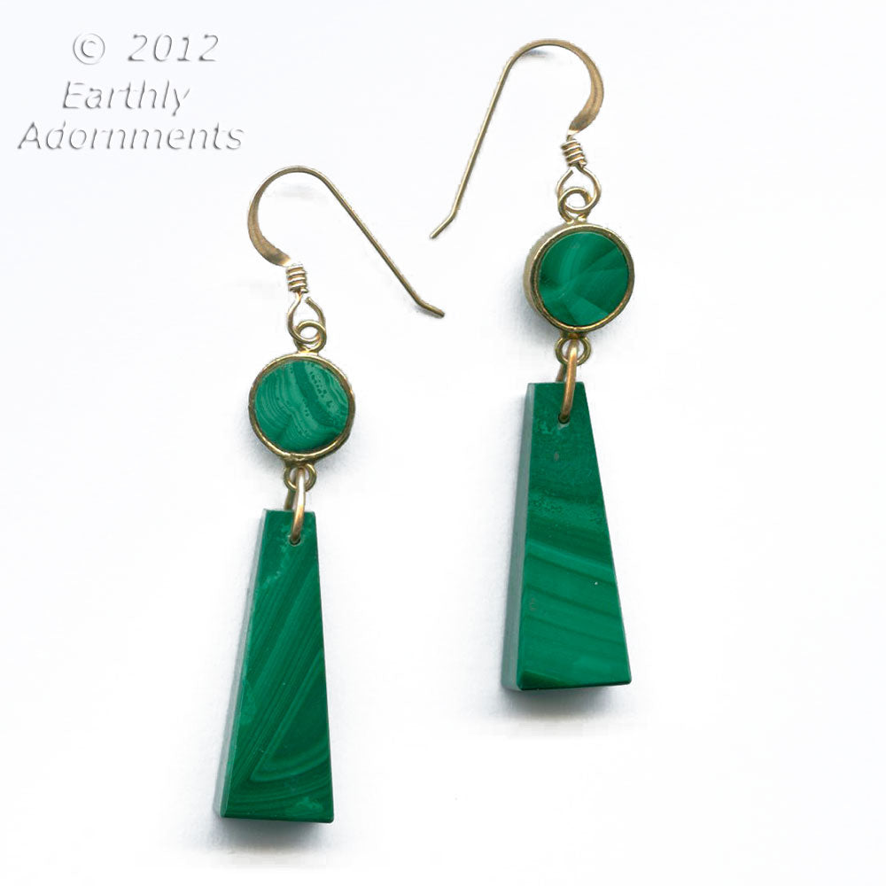 Vintage carved malachite earrings.  ervn915