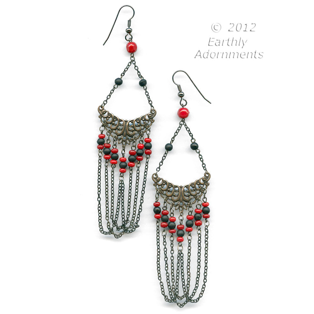 Art Deco style brass filigree, chain and glass bead earrings.  ervn926