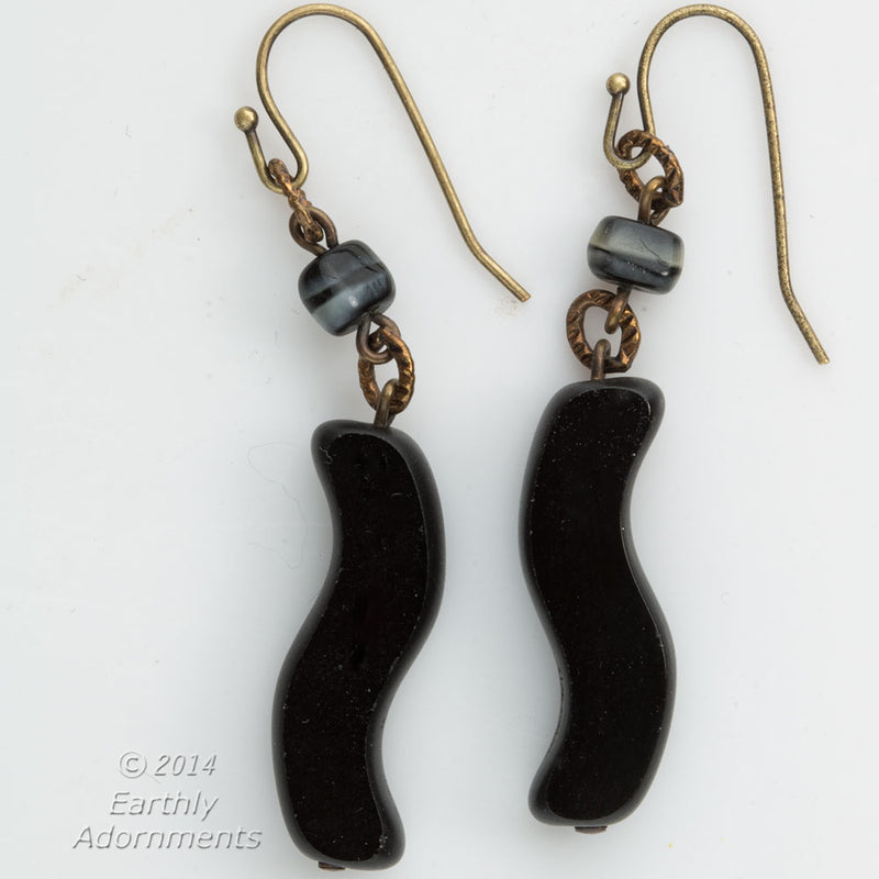 Vintage carved black onyx drop earrings. ervn935