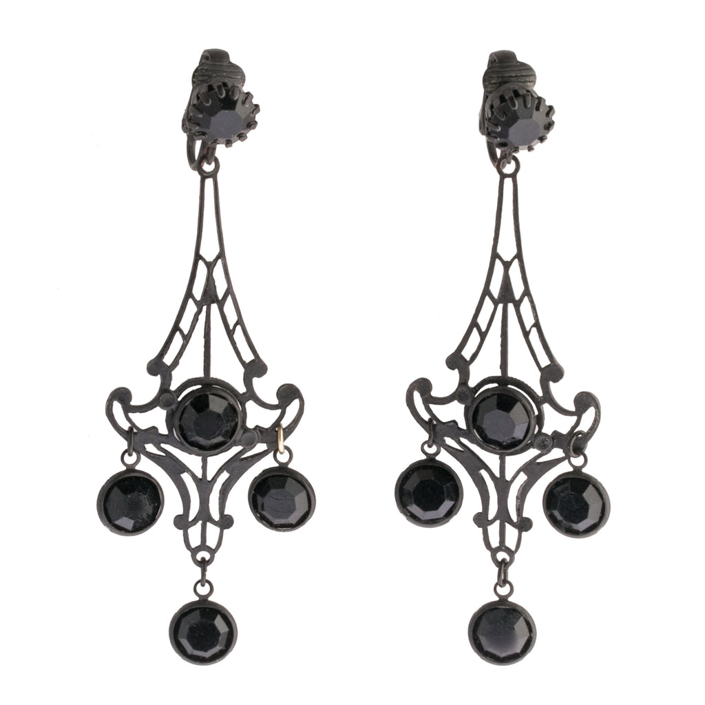 Vintage 1970s matte black filigree metal chandelier clip-on earrings with faceted glass stones. ervn953