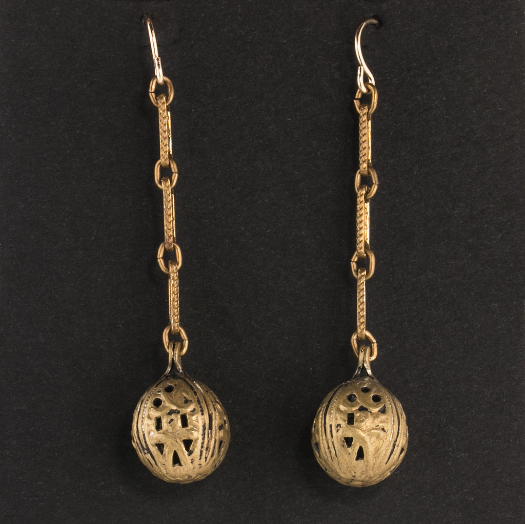 Vintage fancy 1940s hollow solid brass button earrings. ervn956