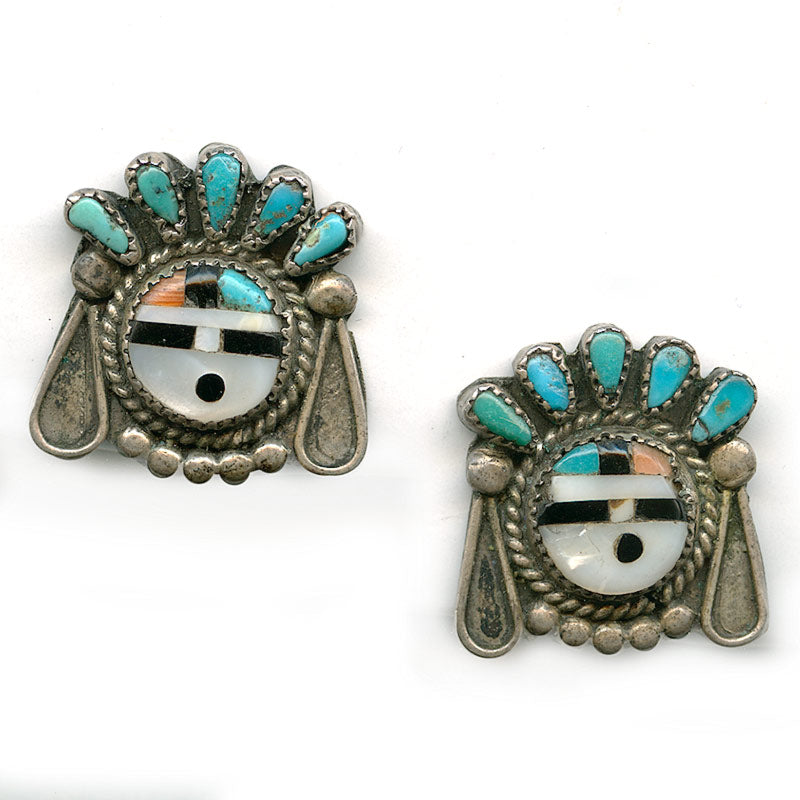 Vintage Zuni Sun Face silver, turquoise and inlaid earrings. ervs841cn