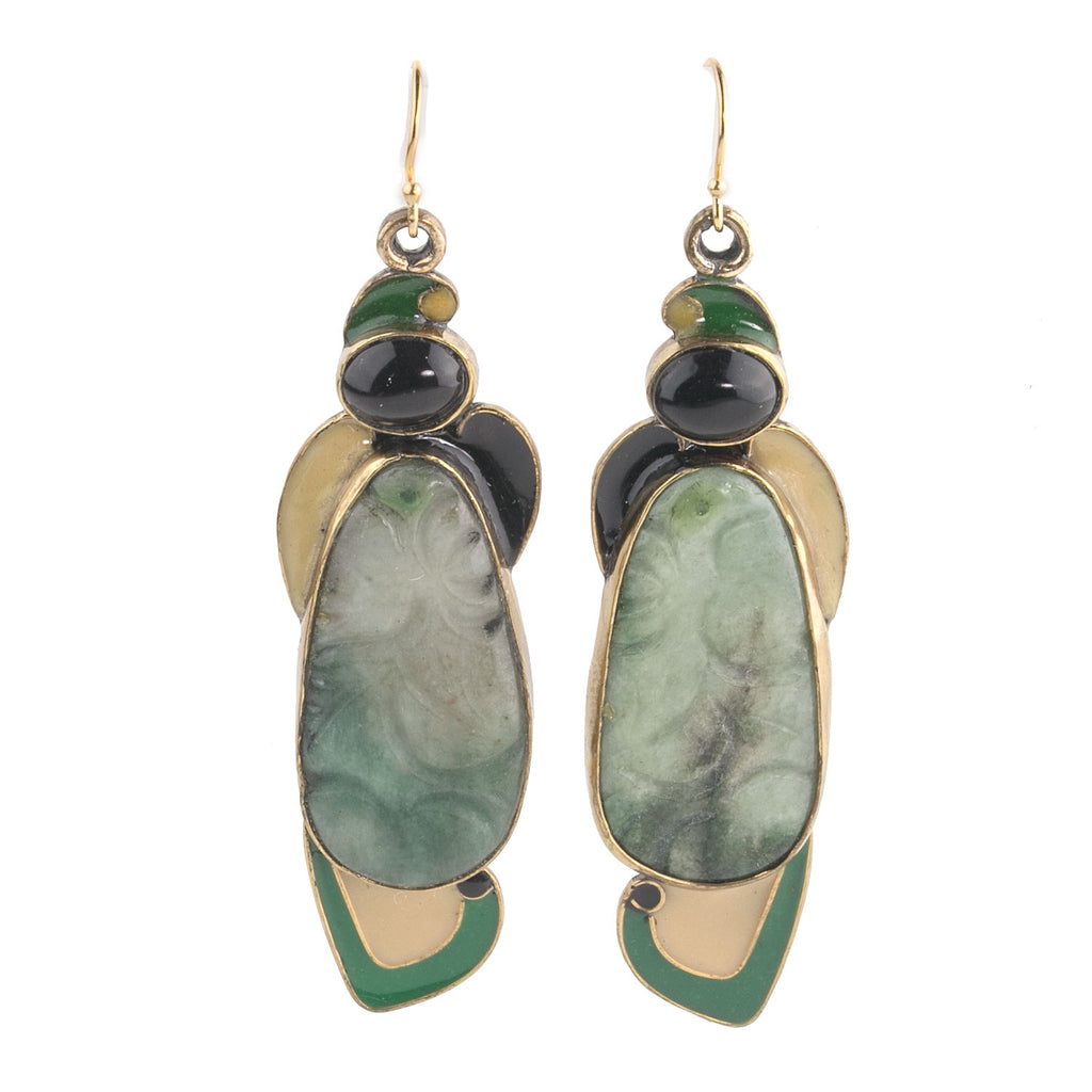 Vega Maddox silver, jadeite, black onyx, and enamel earrings-ervs856(e)