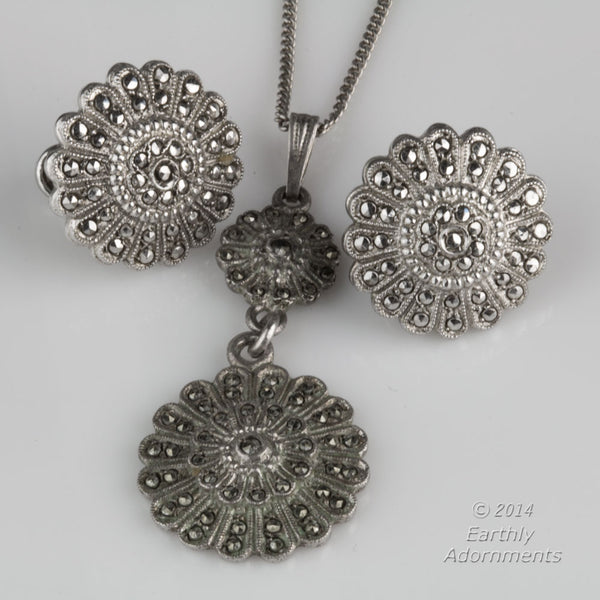 ERVS874dm(e)-Vintage sterling silver and marcasite earring and pendant duo, signed KD Sterling