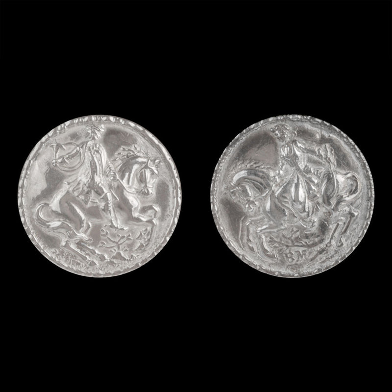 19th century Norweigan silver button earrings. ervs881