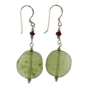 ervs887cs(e)- Earrings made from excavated Roman glass shard beads and garnet on sterling earwires.