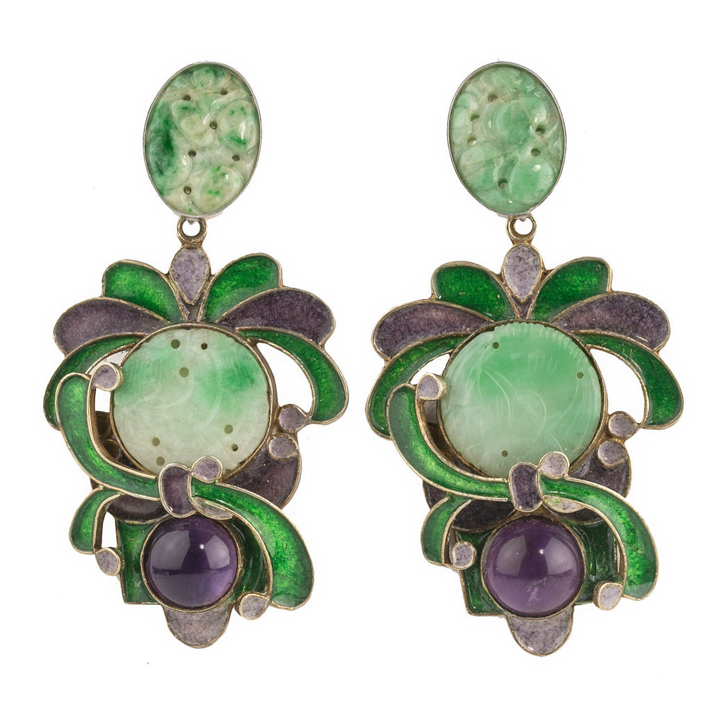 Vega Maddox silver vermeil, jadeite,amethyst, and enamel earrings ervs890(e)