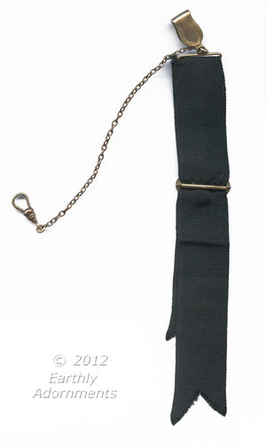 Antique Edwardian gold filled watch fob with black grosgrain ribbon. Fbed109