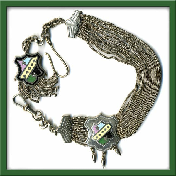 Antique Victorian Gentlemans Enamel and Silver Watch Chain With Pendant Dangles and Fringe 33.5 cm. fbvc103