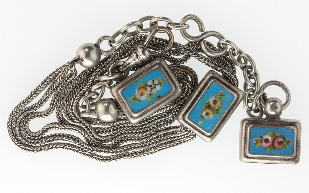 Antique Victorian silver and enamel watch chain. fbvc126