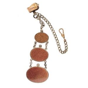 Victorian gentleman's 3 tier goldstone fob and silver metal watch chain. fbvc128(e)