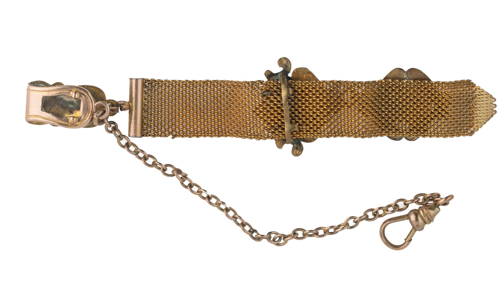 Victorian gold filled pocket watch mesh fob and monogrammed charms . 4x 1/2in.  c.1880s. fbvc138
