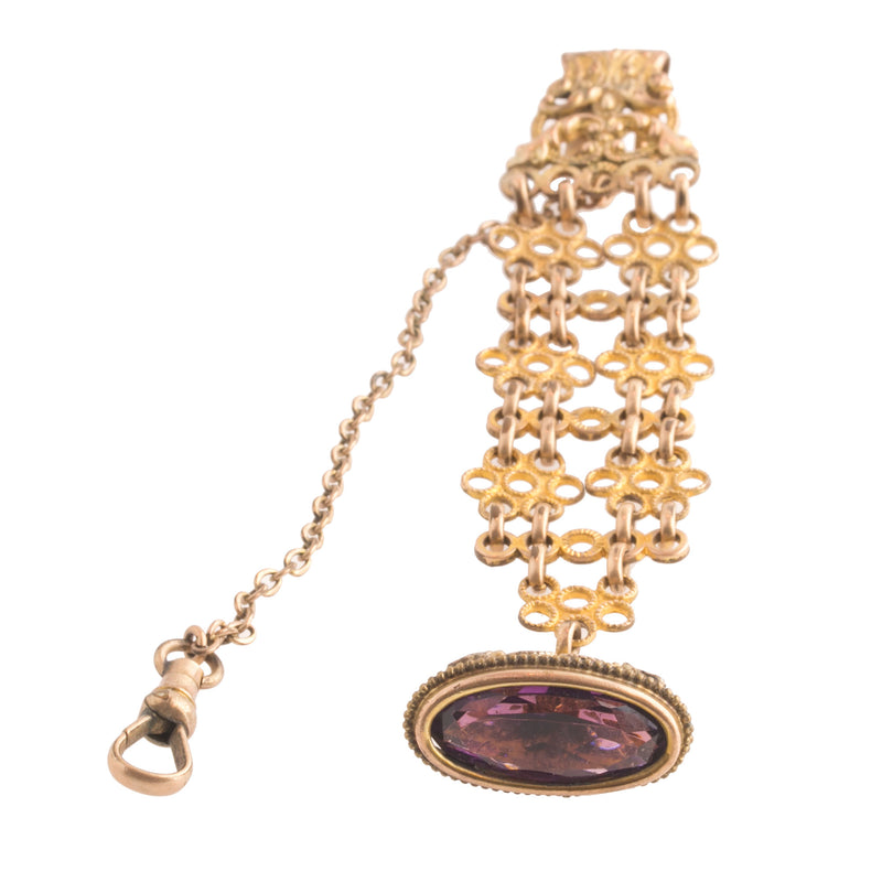 Early century gold filled fancy double watchchain with Amethyst glass fob. S.B.&Co. fbvc144