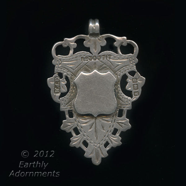 Antique unengraved sterling silver watch fob, hallmarked Birmingham 1909 W.J.D. fbvs102(e)