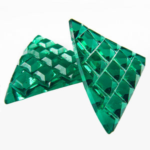 Art Deco pressed emerald green glass triangles no hole 22mm edge Czechoslovakia 1920s Pkg of 2. b5-690