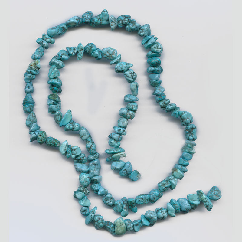 Old stock matrix stabilized turquoise 10 -13 mm nugget 16 inch strand. b4-tur438