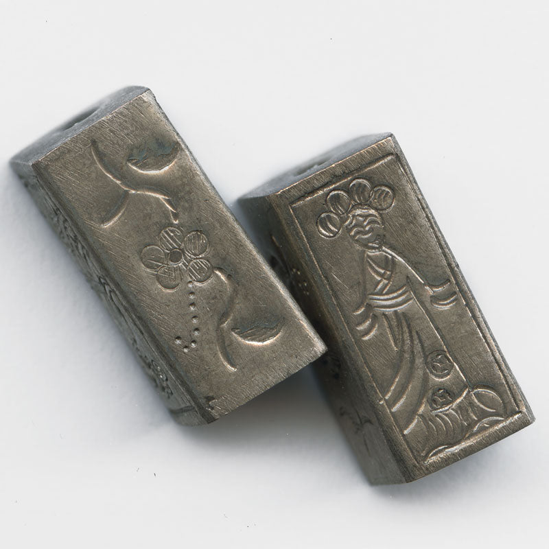 Coin silver embossed rectangular bead Chinese lady 20mm Pkg of 1. B18-0305