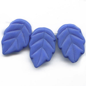Vintage opaque French blue molded glass leaf pendant Czechoslovakia, 20x13mm. Pkg of 10. b11-bl-1164