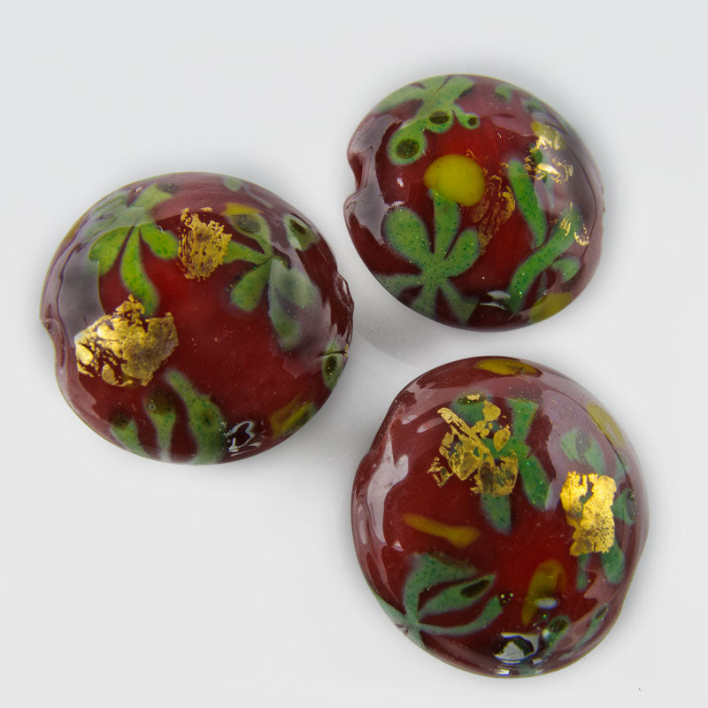 Contemporary handpainted disk beads 16x8mm Pkg of 2. b11-rd-0823(e)