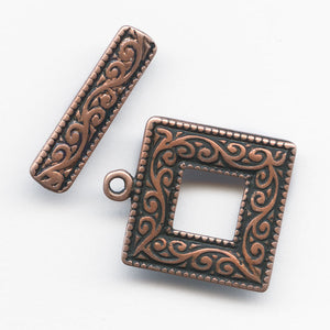 Square frame 2-part toggle clasp in an antique copper finish 18mm. b8-259-2(e)