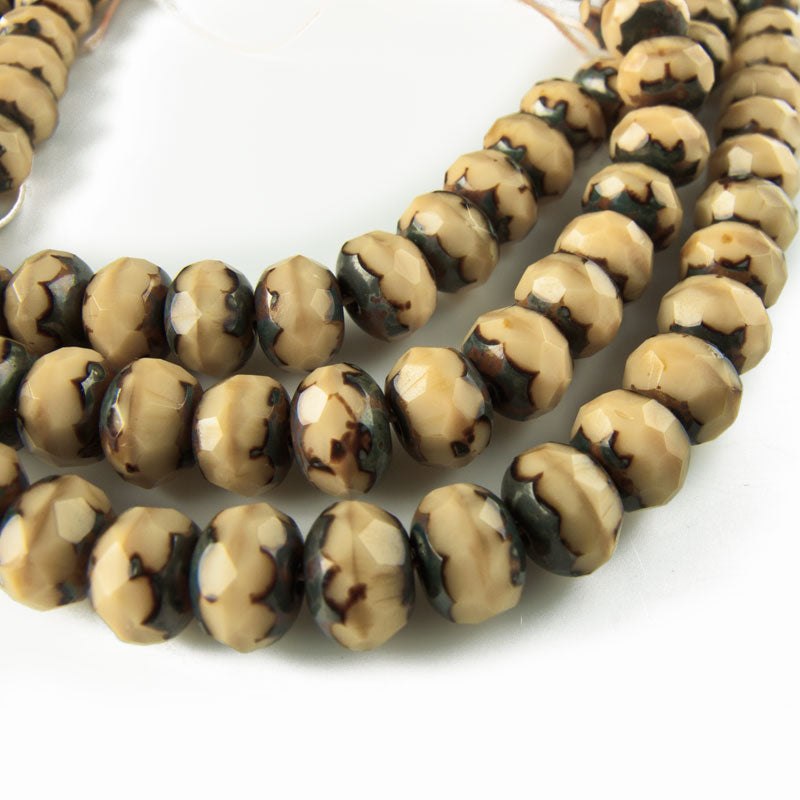 Picasso Faceted Saucer Beads in Beige. 7x5mm. Pkg of 10. b11-br-0649(e)