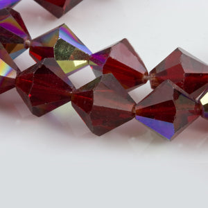 Vintage tin cut faceted translucent ruby red bicones with partial AB finish, Czechoslovakia 1950-60s 10mm Pkg of 8. b11-rd-0831-2(e)