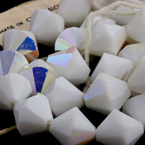 Vintage tin cut faceted chalk white bicones with partial AB finish, Czechoslovakia 1950-60s 10mm Pkg of 8. b11-bw-1093(e)
